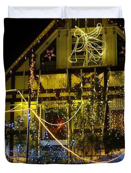 Illuminated Christmas-house Duvet Cover