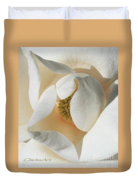 Illuminated Magnolia Macro Duvet Cover