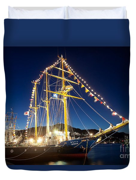 Illuminated Sailing Ship Duvet Cover
