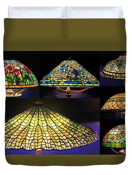 Illuminated Tiffany Lamps - A Collage Duvet Cover