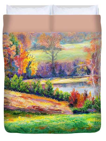 Duvet Cover featuring the painting Illuminating Colors Of Fall by Lee Nixon