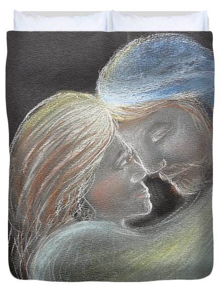 Duvet Cover featuring the drawing Illuminating Love by Deborah Nell