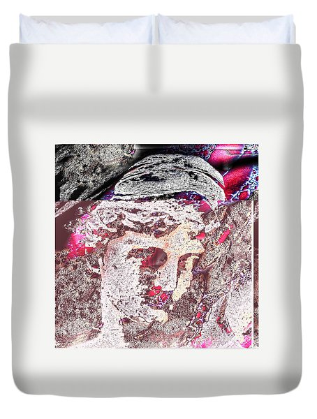 Duvet Cover featuring the mixed media Illusion Face by Yury Bashkin