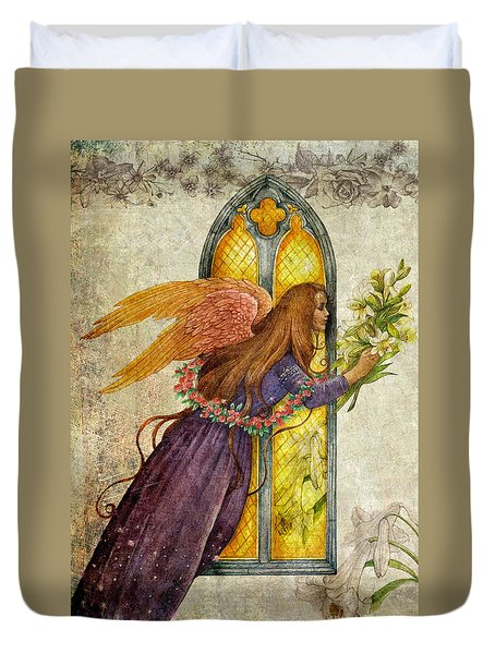 Illustrated Angel And Lily Duvet Cover