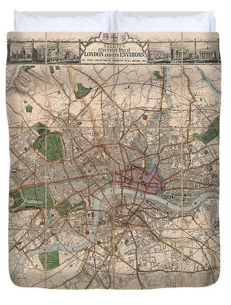 Illustrated Plan Of London And Its Environs - Map Of London - Historic Map - Antique Map Of London Duvet Cover