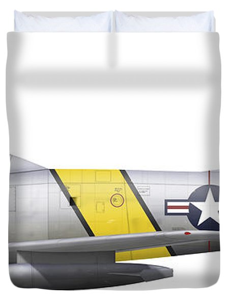 Illustration Of A North American F-86f Duvet Cover by Chris Sandham-Bailey
