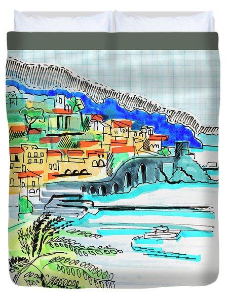 illustration of travel, Spain Duvet Cover