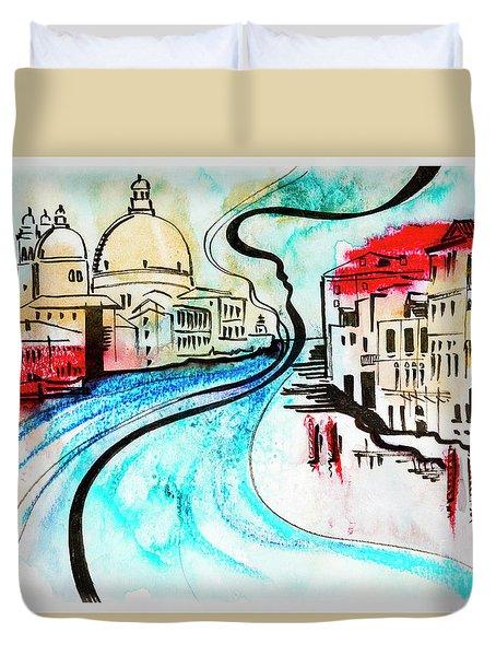 illustration of travel, Venice Duvet Cover