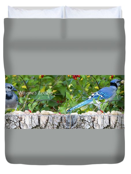 Duvet Cover featuring the photograph I'm Not Lookin' And I'm Out by Ricky L Jones