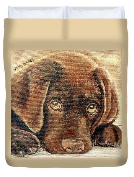 I'm Sorry - Chocolate Lab Puppy Duvet Cover