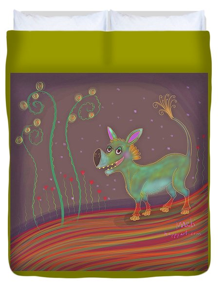 Duvet Cover featuring the digital art Imaginary Go-getter by Marti McGinnis