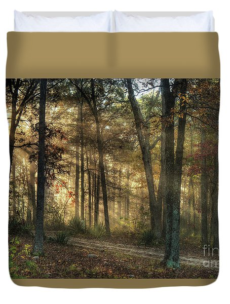 Duvet Cover featuring the digital art Imagine A Mystical Light In The Forest by William Fields