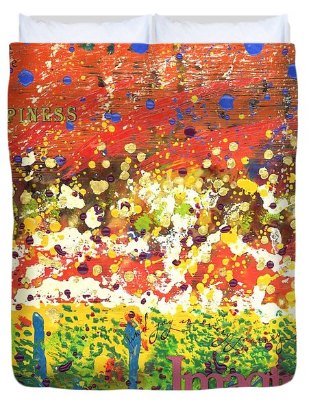 Imagine Happiness Duvet Cover by Angela L Walker