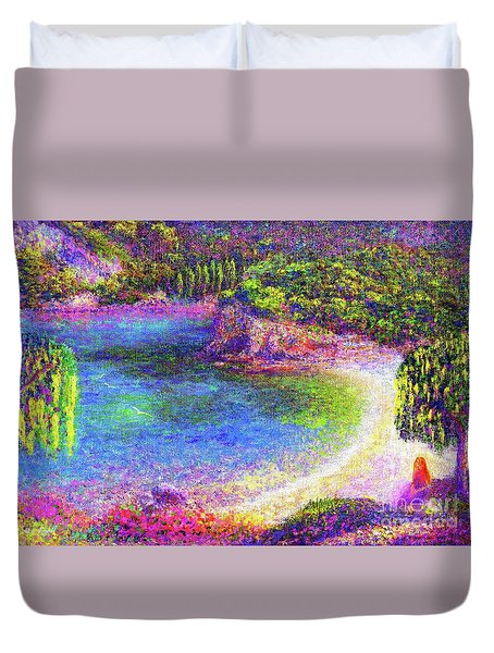 Imagine, Meditating In Beautiful Bay,seascape Duvet Cover by Jane Small
