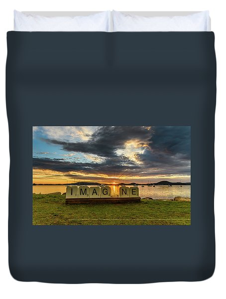 Imagine Sunrise Waterscape Over The Bay Duvet Cover