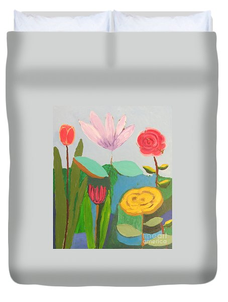 Duvet Cover featuring the painting Imagined Flowers One by Rod Ismay