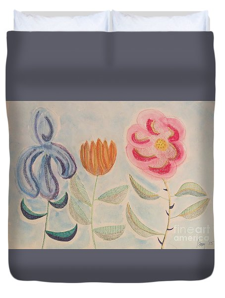 Duvet Cover featuring the painting Imagined Flowers Two by Rod Ismay