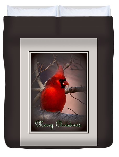 Img_3158-005 - Northern Cardinal Christmas Card Duvet Cover