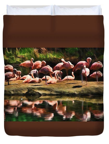 Pink Flamingo Color Duvet Cover by Terry Cork
