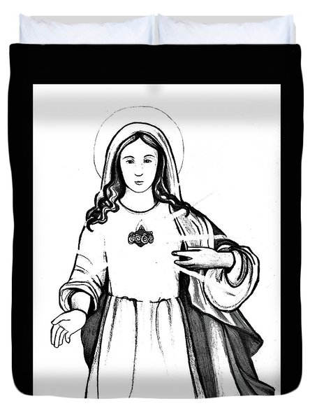 Duvet Cover featuring the drawing Immaculate Heart Of Mary by Mary Ellen Frazee