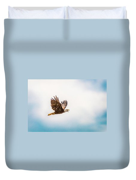 Duvet Cover featuring the photograph Immature Bald Eagle by Onyonet  Photo Studios