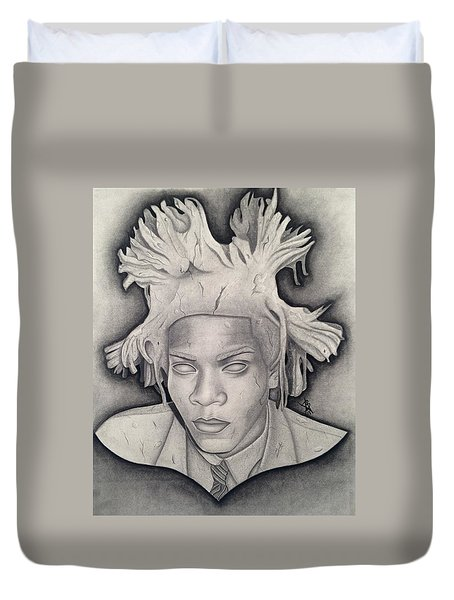 Immortalizing In Stone Jean Michel Basquiat Drawing Duvet Cover