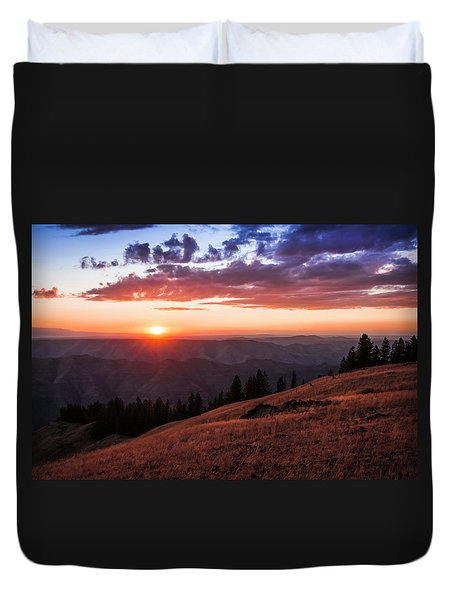 Imnaha Canyon Sunset Duvet Cover
