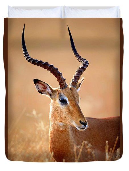 Impala Male Portrait Duvet Cover