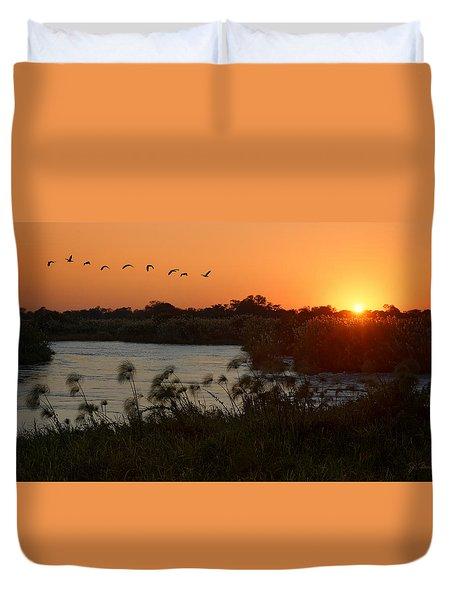 Impalila Island Sunrise Duvet Cover by Joe Bonita