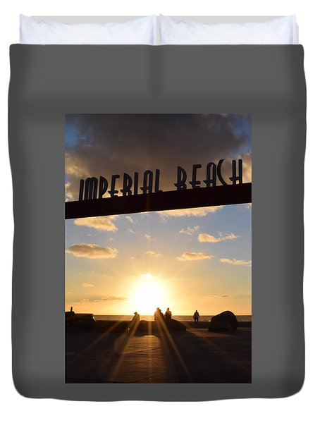Imperial Beach At Sunset Duvet Cover