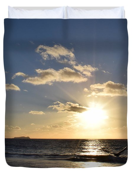Sunset Reflection At Imperrial Beach Duvet Cover