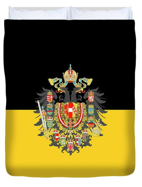 Duvet Cover featuring the digital art Habsburg Flag With Imperial Coat Of Arms 1 by Helga Novelli