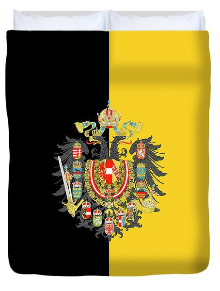 Duvet Cover featuring the digital art Habsburg Flag With Imperial Coat Of Arms 2 by Helga Novelli