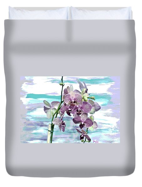 Imperial Orchids Duvet Cover by Marsha Heiken