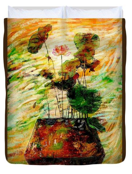 Impression In Lotus Tree Duvet Cover