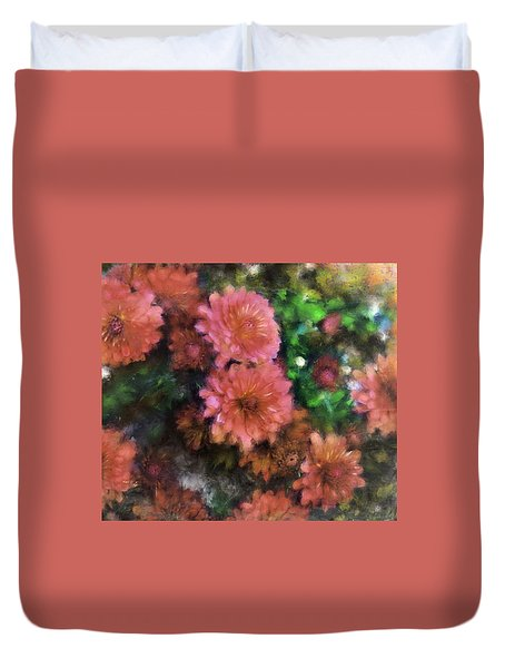 Bronze And Pink Mums Duvet Cover