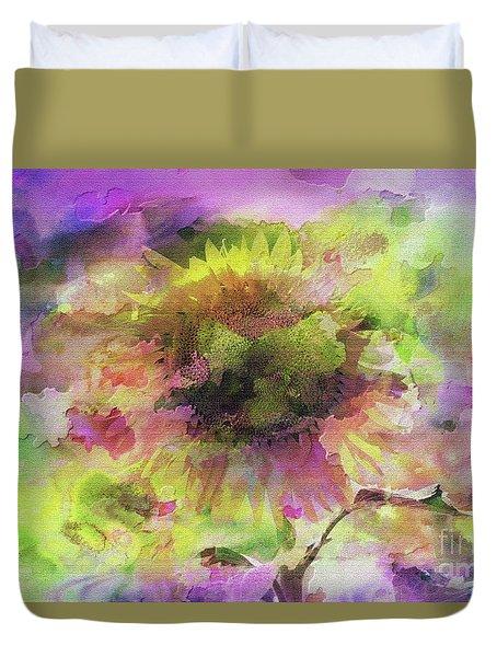Impression Sunflower Duvet Cover by Geraldine DeBoer