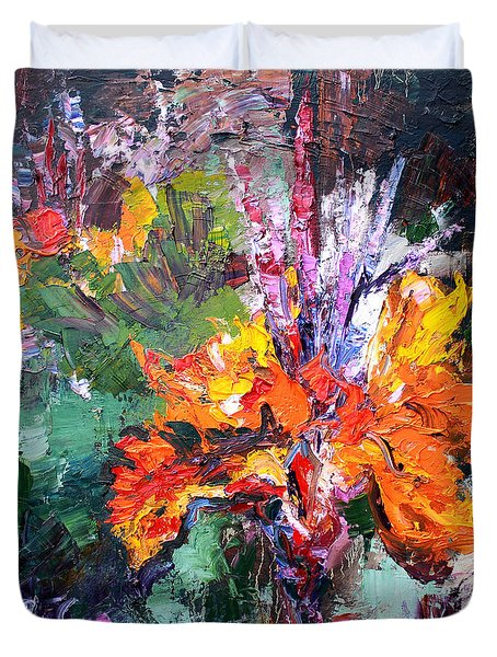 Duvet Cover featuring the painting Impressionist Canna Flower Oil Painting  by Ginette Callaway