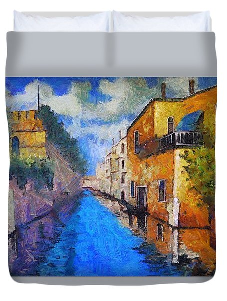 Impressionist D'art At The Canal Duvet Cover by Mario Carini