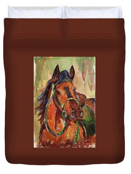 Impressionist Horse Duvet Cover by Janet Garcia