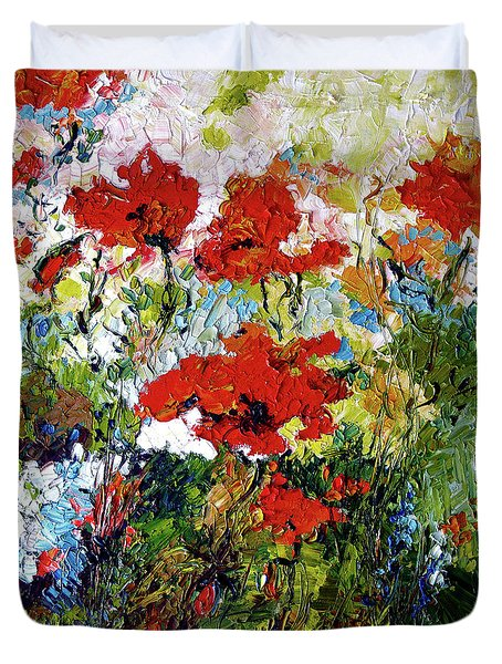 Duvet Cover featuring the painting Impressionist Red Poppies Provencale by Ginette Callaway