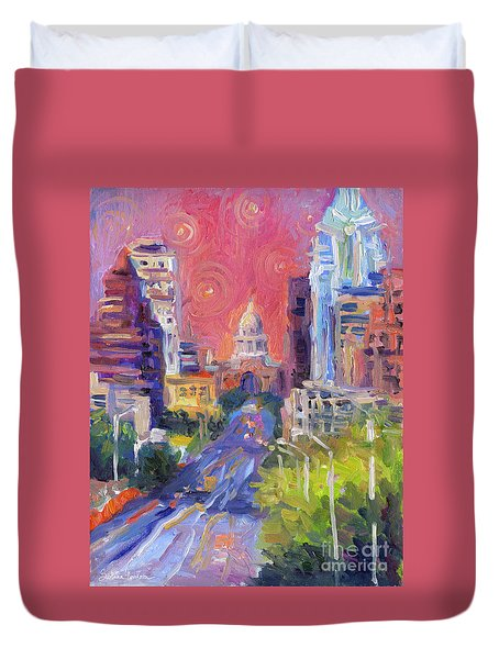 Impressionistic Downtown Austin City Painting Duvet Cover
