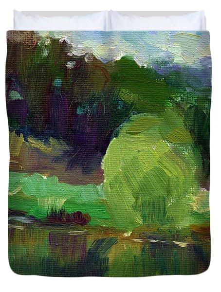Impressionistic Oil Landscape Lake Painting Duvet Cover by Svetlana Novikova