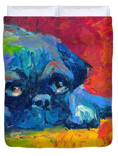 impressionistic Pug painting Duvet Cover by Svetlana Novikova