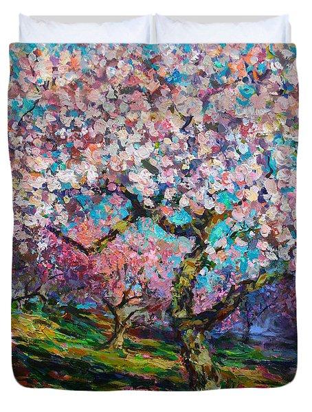 Impressionistic Spring Blossoms Trees Landscape Painting Svetlana Novikova Duvet Cover