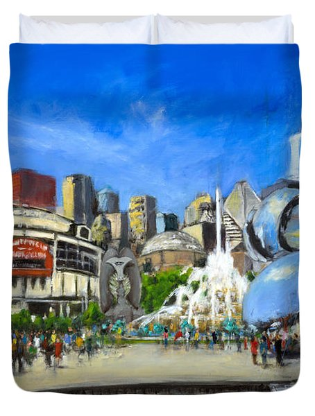 Impressions Of Chicago Duvet Cover