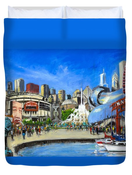 Impressions Of Chicago Duvet Cover by Robert Reeves