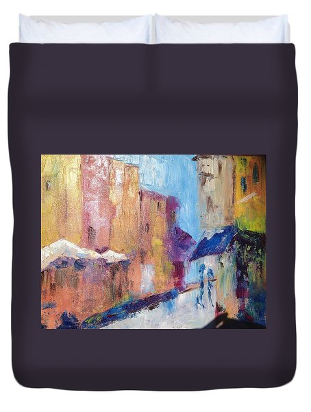 Impressions Of Monte Martre, Paris Duvet Cover by Roxy Rich
