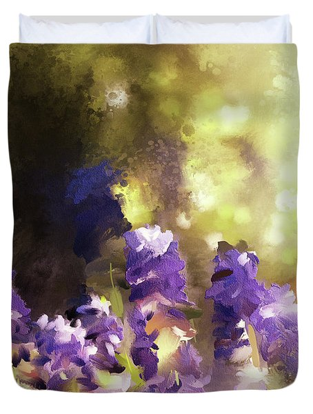 Duvet Cover featuring the digital art Impressions Of Muscari by Lois Bryan