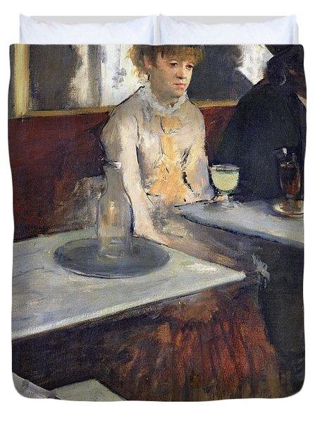 In A Cafe Duvet Cover by Edgar Degas